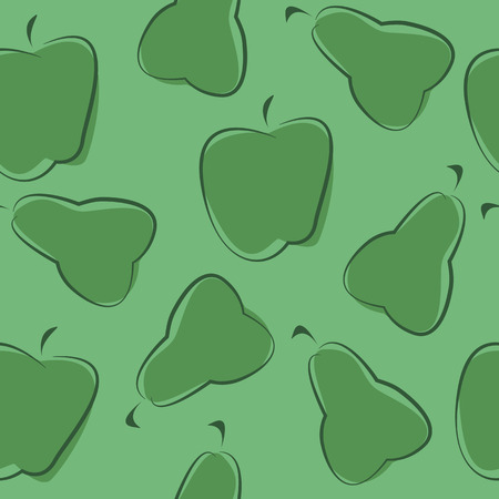 green texture: Seamless green texture with apples and pears