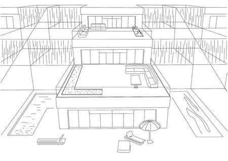 lineaire architectonische schets rijtjeshuizen bovenaanzicht witte achtergrond
