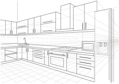 perspectiva lineal: interior de la cocina boceto lineal Vectores