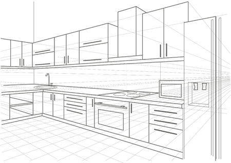 perspective room: linear sketch interior kitchen