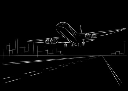aircraft take off: linear sketch plane taking off black background