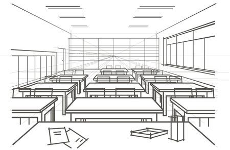 perspectiva lineal: lineal aula interior bosquejo arquitect�nico