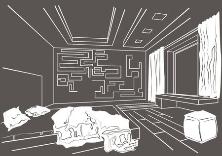 modern interieur: architectural sketch interior of modern bedroom on gray background
