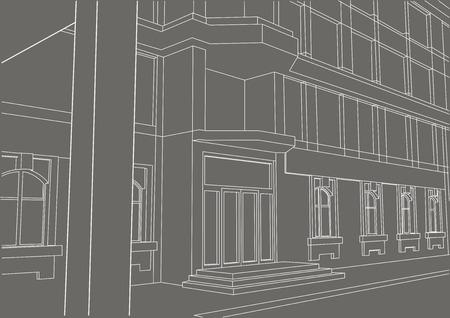 building entrance: linear architectural sketch building entrance on gray background Illustration