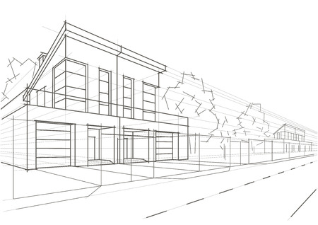 row houses: Linear architectural sketch blocked houses Illustration