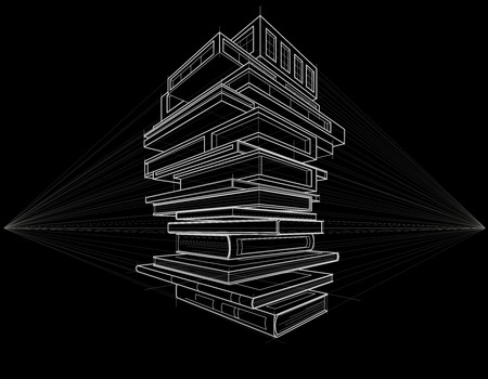 architecture design: Concept linear sketch books transformed to buildings black background
