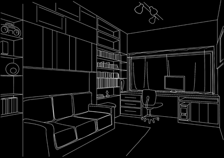 linear architectural sketch cabinet parlour black background