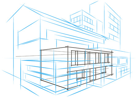 abstract building: Linear architectural sketch concept abstract building