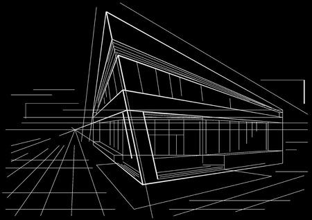 building sketch: architectural sketch of modern corner building on black background Illustration