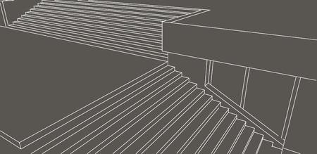 grey background: Boceto L�nea de escaleras de la calle en fondo gris