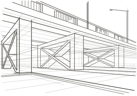 간접비: Linear architectural sketch overhead road