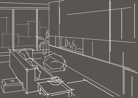 modern interior: Linear sketch modern interior on gray background Illustration