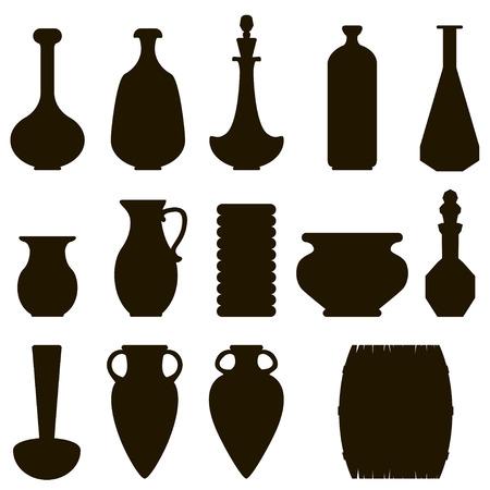 barrell: dark silhouette of a jug set