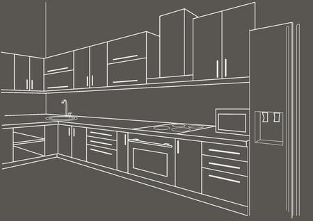 perspectiva lineal: interior de la cocina boceto lineal sobre fondo gris