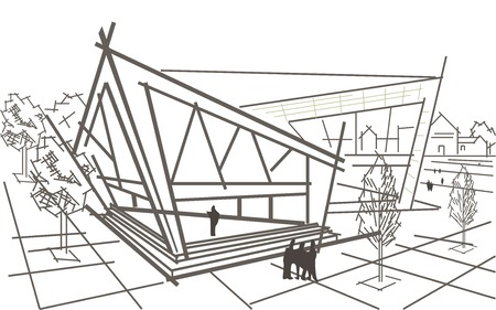 building sketch: Linear architectural sketch modern abstract corner building