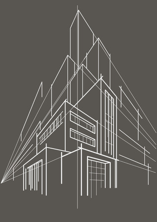 multistorey: abstract linear sketch multi-storey building gray background
