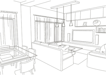 architecture drawing: linear architectural sketch living-room studio