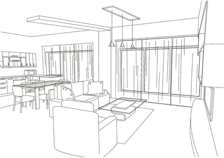 architectural styles: linear architectural sketch living-room white background