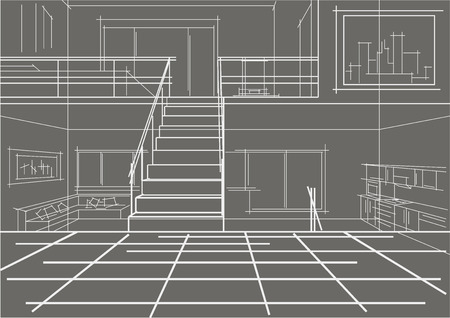 modern interieur: linear sketch modern interior flat in tree levels gray background