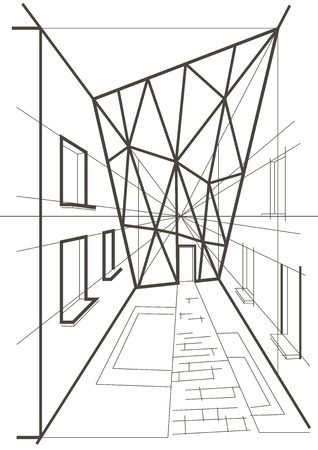 abstract building: arhitectural linear sketch of modern abstract building