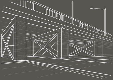 overhead: Linear architectural sketch overhead road on gray background