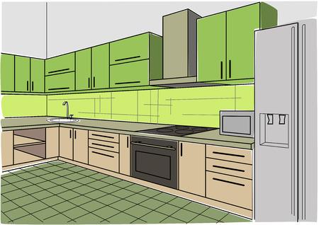 perspectiva lineal: interior de la cocina boceto lineal de color verde