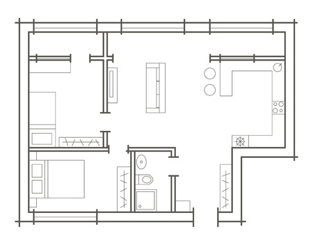 Awesome Plan Sketch Of Two Bedroom Apartment Stock Vector   43193220
