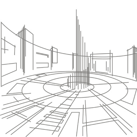 abstract building: Linear architectural sketch town square