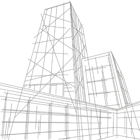 perspectiva lineal: ilustraci�n lineal de un rascacielos Vectores