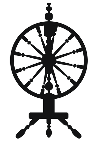 spin: Dark silhouette of a spinning wheel Illustration