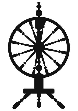spinning: Dark silhouette of a spinning wheel Illustration