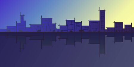 colored sketch of city skyline reflecting in water