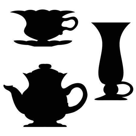 dainty: Dark silhouette of tableware set