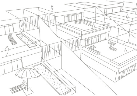 terraced: linear architectural sketch terraced houses top view white background