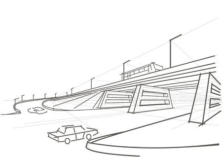 Lineare architettonico viadotto schizzo Archivio Fotografico - 43193801