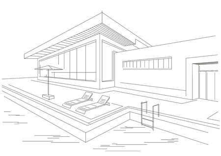 vacation home: linear architectural sketch of vacation home with pool