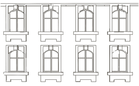 building sketch: Line sketch of fragment of facade of building with windows Illustration