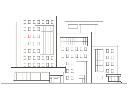 front view: Linear architectural sketch of multistory building with red window front view