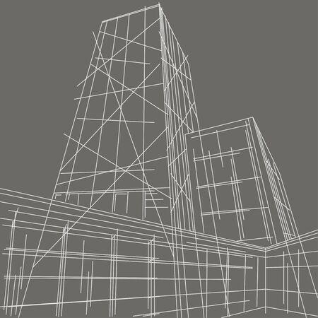 perspectiva lineal: lineal ilustraci�n rascacielos fondo gris