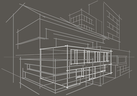 abstract building: Linear architectural sketch concept abstract building gray background