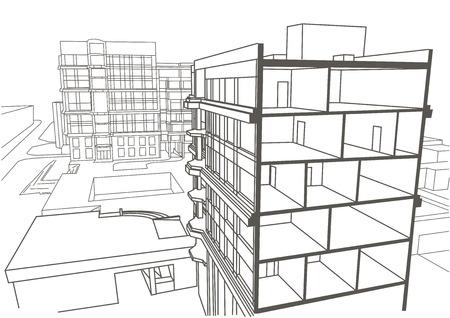 Architettura schizzo condominio multipiano lineare. Disegno in sezione