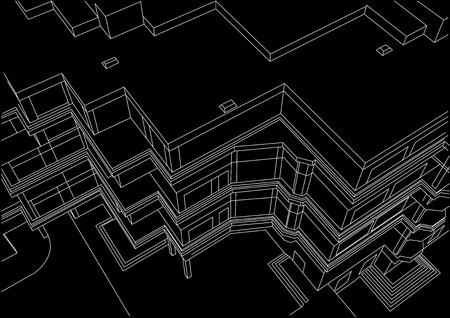 building sketch: architectural linear sketch building on black background