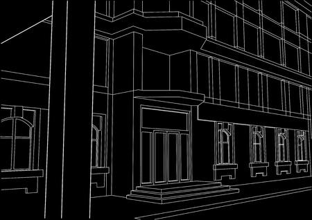building entrance: linear architectural sketch building entrance black background