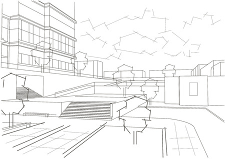 residential: Linear architectural sketch residential quarter