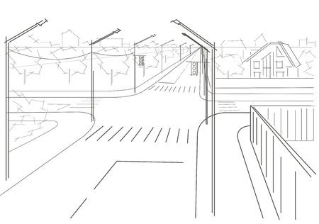 cruce de caminos: Lineal arquitect�nico bosquejo calles residenciales encrucijada