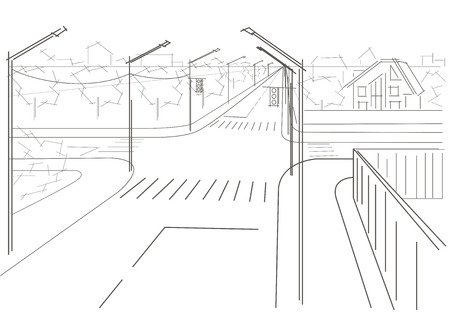 crossroad: Linear architectural sketch residential streets crossroad