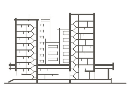sectional: Linear architectural sketch of multistory building. Sectional drawing