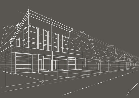 row of houses: Linear architectural sketch blocked houses on gray background Illustration