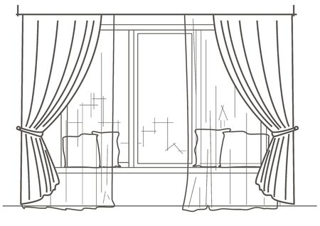 cushions: Linear architectural sketch big window with curtains and cushions