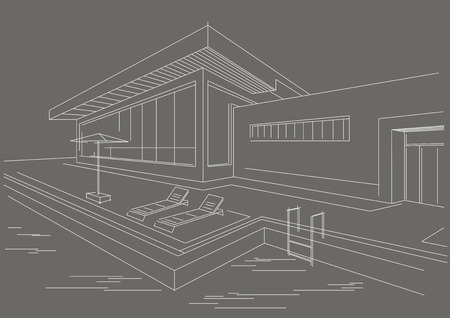 vacation home: architectural line sketch vacation home with pool gray background